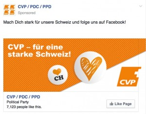 Facebook Ad für die CVP Page