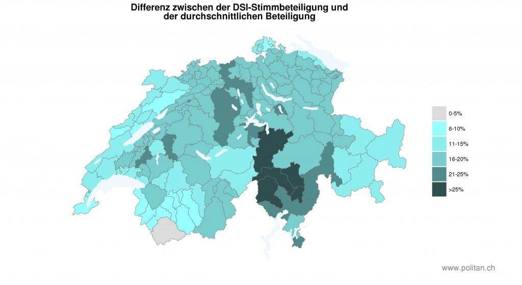 Differenz zwischen der DSI-Stimmbeteilung und der durchschnittlichen Stimmbeteiligung.